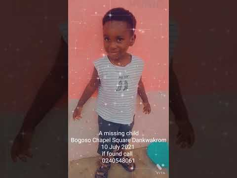 A missing child at Bogoso, 10 July 2021, if found call 0240548061.