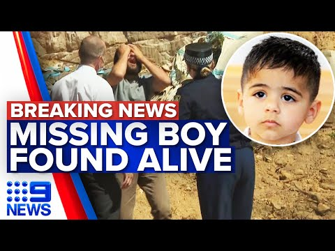 Incredible moment missing three-year-old boy found alive | 9 News Australia
